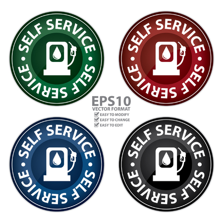 Colorful Glossy Style Circle Self Service Gasoline Station Icon, Button, Sticker or Label Isolated on White Background Vector