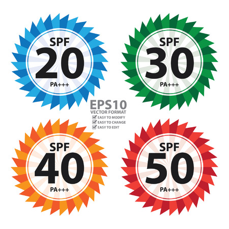 uv: Colorful Body and Skincare SPF 20 - 50 PA    Sunscreen Icon, Sticker or Label Isolated on White Background
