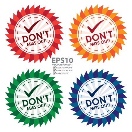 don: Colorful Don\t Miss Out Icon, Sticker, Badge or Label Isolated on White Background
