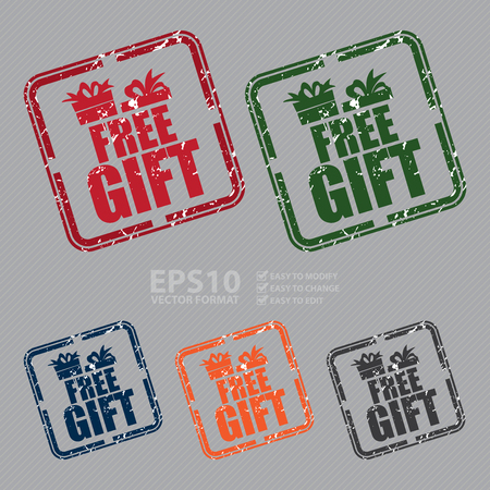 free gift: Vector : Square Grunge Style Free Gift Rubber Stamp, Icon or Label Illustration