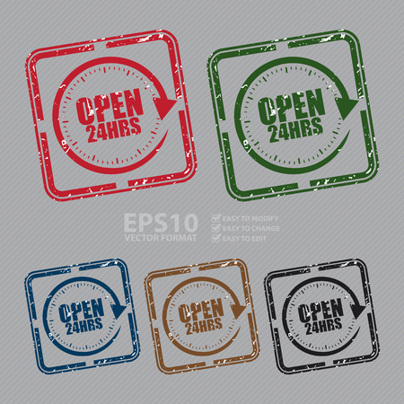 hrs: Vector : Square Grunge Style Open 24HRS Rubber Stamp, Icon or Label