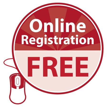 白い背景で隔離のラベルやステッカー レッド サークル オンライン登録無料アイコン 写真素材
