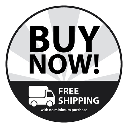 Black Circle Buy Now, Free Shipping With No Minimum Purchase Icon,Sticker or Label Isolated on White Background photo