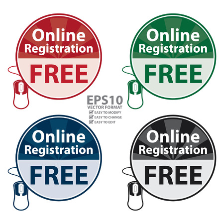 registry: Vector : Circle Online Registration Free Icon,Sticker or Label Isolated on White Background