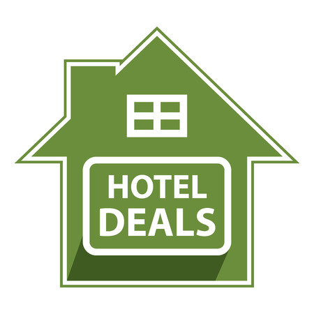 Green Hotel Deals Sign, Icon, Sticker or Label Isolated on White Background photo