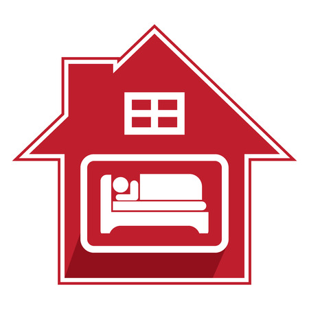 guesthouse: Red Hotel, Motel, Guesthouse Sign, Icon, Sticker or Label Isolated on White Background Stock Photo