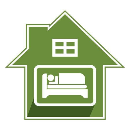 guesthouse: Green Hotel, Motel, Guesthouse Sign, Icon, Sticker or Label Isolated on White Background