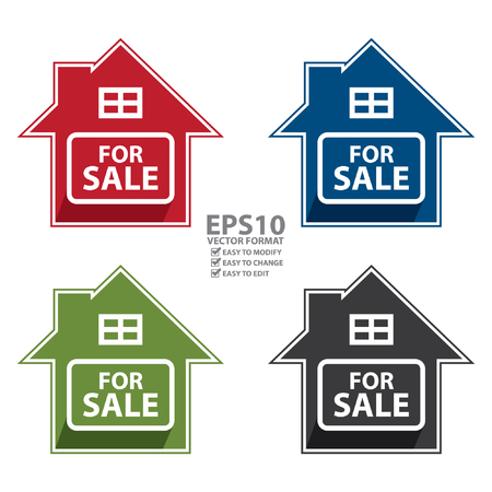 commission: Vector : Colorful Home For Sale Sign, Icon, Sticker or Label Isolated on White Background Illustration