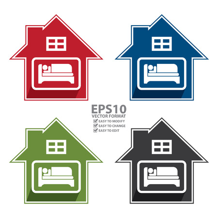 accomodation: Vector : Colorful Hotel, Motel, Guesthouse Sign, Icon, Sticker or Label Isolated on White Background