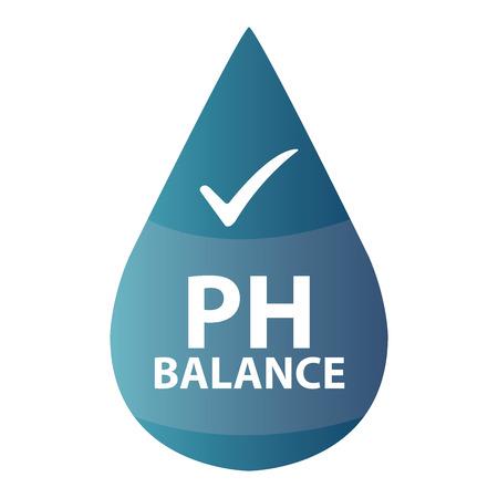 Blue PH Balance pictogram of label geïsoleerd op een witte achtergrond