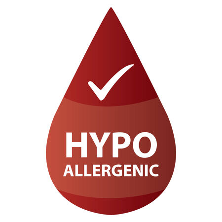 hypo: Red Hypoallergenic Water Drop Icon or Label Isolated on White Background