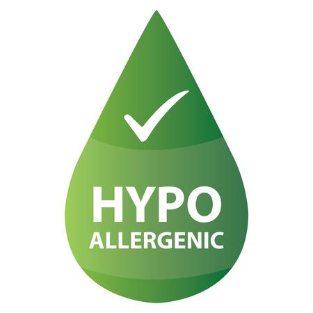 Green Hypo-allergeen Water Drop Icon of etiket op een witte achtergrond Stockfoto - 36531552
