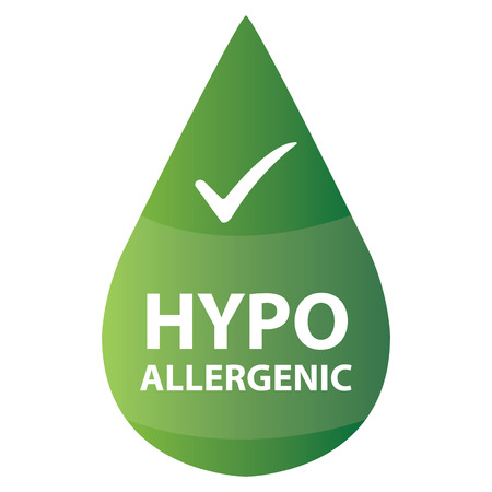 hypo: Green Hypoallergenic Water Drop Icon or Label Isolated on White Background