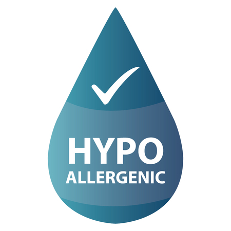 hypo: Blue Hypoallergenic Water Drop Icon or Label Isolated on White Background