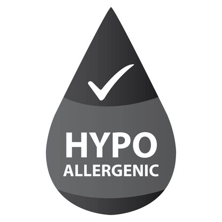 hypo: Black Hypoallergenic Water Drop Icon or Label Isolated on White Background