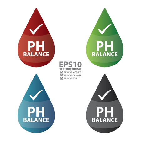 ph: Vector : Colorful PH Balance Icon or Label Isolated on White Background
