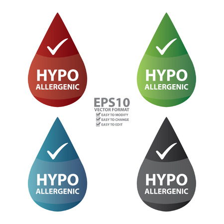 hypo: Vector : Colorful Hypoallergenic Water Drop Icon or Label Isolated on White Background
