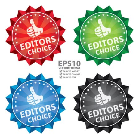 editors: Vector : Colorful Shiny Flower Shape Icon, Label or Sticker With Editors Choice Sign Isolated on White Background