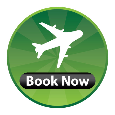 flight booking: Green Circle Shiny Style Flight Booking Icon, Sticker or Label Isolated on White Background