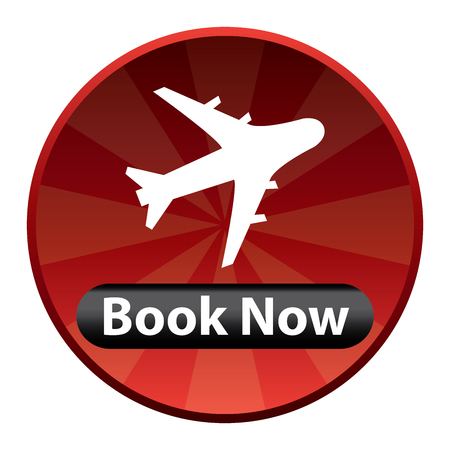 flight booking: Red Circle Shiny Style Flight Booking Icon, Sticker or Label Isolated on White Background Stock Photo