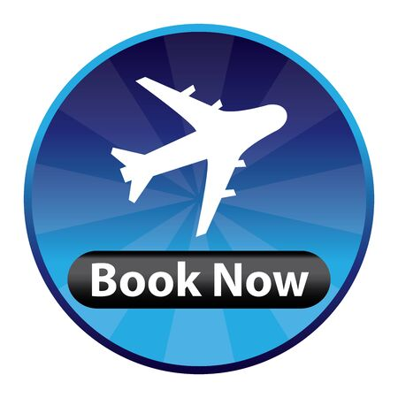 flight booking: Blue Circle Shiny Style Flight Booking Icon, Sticker or Label Isolated on White Background