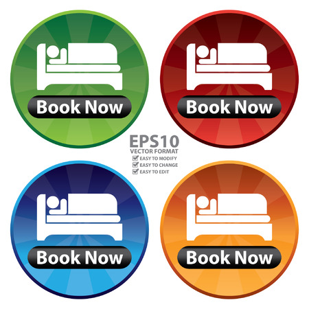 accomodation: Vector : Colorful Circle Shiny Style Hotel, Motel, Guesthouse or Accommodation Icon, Sticker or Label Isolated on White Background Illustration