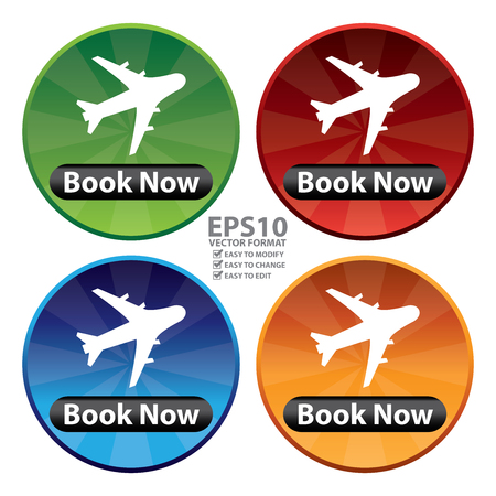 flight booking: Vector : Colorful Circle Shiny Style Flight Booking Icon, Sticker or Label Isolated on White Background Illustration