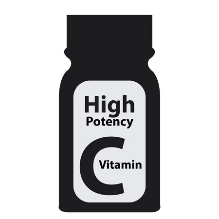 potency: Black High Potency C Vitamin Bottle or Container Isolated on White Background