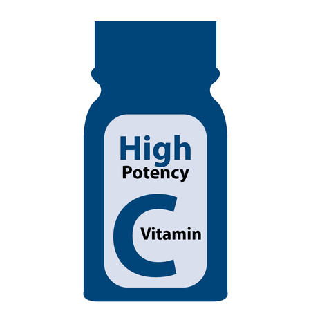 potency: Blue High Potency C Vitamin Bottle or Container Isolated on White Background Stock Photo