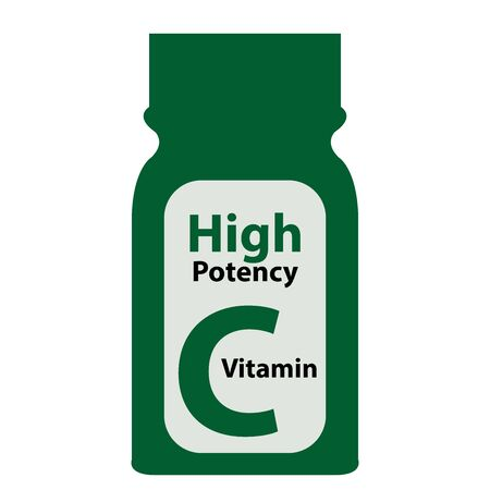 potency: Green High Potency C Vitamin Bottle or Container Isolated on White Background