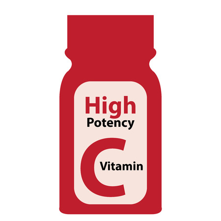 potency: Red High Potency C Vitamin Bottle or Container Isolated on White Background