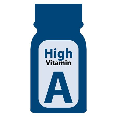 potency: Blue High Potency Vitamin A Bottle or Container Isolated on White Background Stock Photo