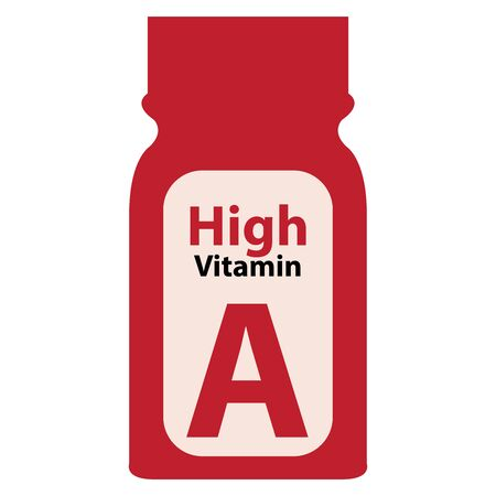potency: Red High Potency Vitamin A Bottle or Container Isolated on White Background Stock Photo