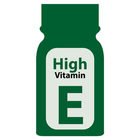potency: Green High Potency Vitamin E Bottle or Container Isolated on White Background