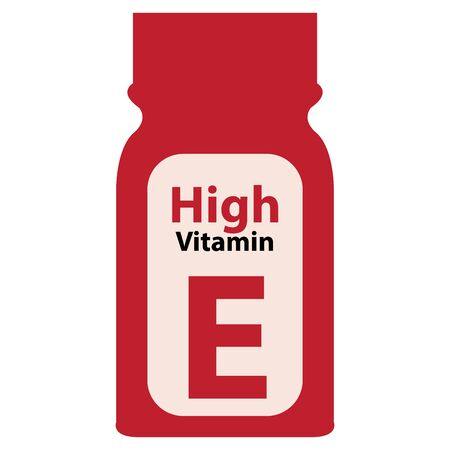 potency: Red High Potency Vitamin E Bottle or Container Isolated on White Background
