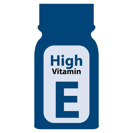 potency: Blue High Potency Vitamin E Bottle or Container Isolated on White Background Stock Photo