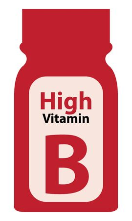potency: Red High Potency Vitamin B Bottle or Container Isolated on White Background Stock Photo