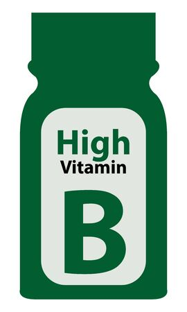 potency: Green High Potency Vitamin B Bottle or Container Isolated on White Background