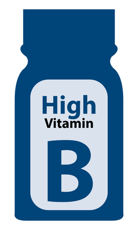 potency: Blue High Potency Vitamin B Bottle or Container Isolated on White Background
