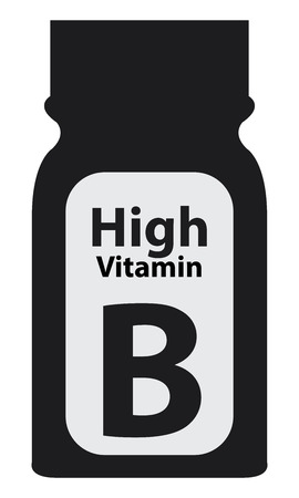 potency: Black High Potency Vitamin B Bottle or Container Isolated on White Background