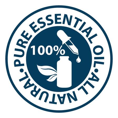 Blue Circle 100 Percent Pure etherische olie, All Natural Icoon, Sticker of label geïsoleerd op een witte achtergrond Stockfoto
