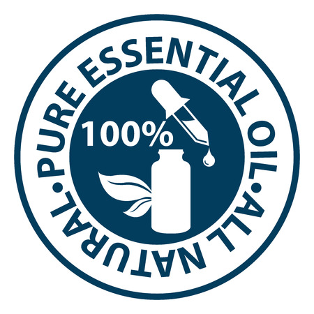 Blue Circle 100 Percent Pure etherische olie, All Natural Icoon, Sticker of label geïsoleerd op een witte achtergrond Stockfoto - 36531628