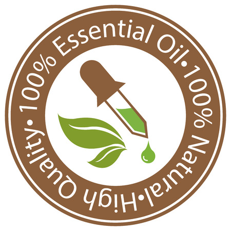Brown Circle 100 Percent Essential Oil, 100 Percent Natural and High Quality Sticker, Label or Icon Isolated on White Background