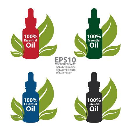 Vector: Kleurrijke 100 Procent etherische olie dropper fles met blad geïsoleerd op witte achtergrond Stockfoto - 36531746