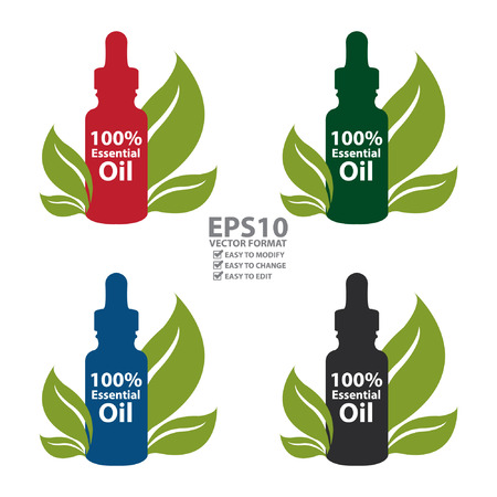 Vector : Colorful 100 Percent Essential Oil Dropper Bottle With Leaf Isolated on White Background