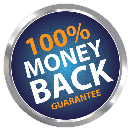 Blue Circle Metallic Style 100 Percent Money Back Guarantee Sticker, Label or Icon Isolated on White Background