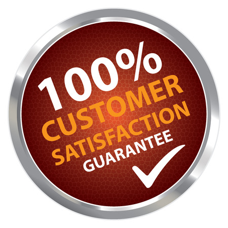 Red Circle Metallic Style 100 Percent Customer Satisfaction Guarantee Sticker, Label or Icon Isolated on White Background photo