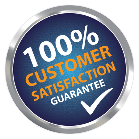 Blue Circle Metallic Style 100 Percent Customer Satisfaction Guarantee Sticker, Label or Icon Isolated on White Background photo