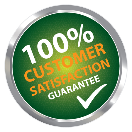 qc: Green Circle Metallic Style 100 Percent Customer Satisfaction Guarantee Sticker, Label or Icon Isolated on White Background