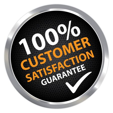 qc: Black Circle Metallic Style 100 Percent Customer Satisfaction Guarantee Sticker, Label or Icon Isolated on White Background Stock Photo